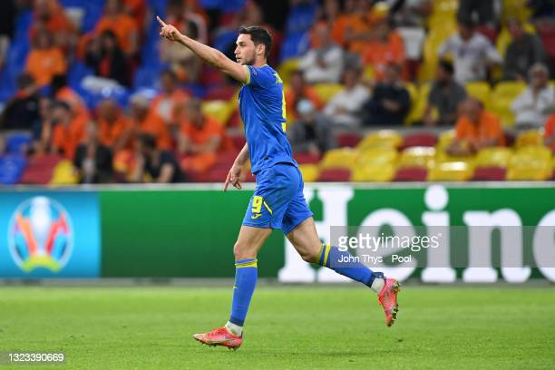 Roman Yaremchuk of Ukraine celebrates after scoring their side's second goal during the UEFA Euro 2020 Championship Group C match between Netherlands...