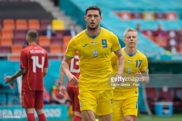Roman Yaremchuk of Ukraine celebrates after scoring their side's second goal during the UEFA Euro 2020 Championship Group C match between Ukraine and...