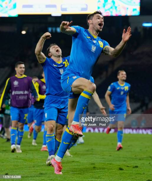 Roman Yaremchuk of Ukraine celebrates after victory in the UEFA Euro 2020 Championship Round of 16 match between Sweden and Ukraine at Hampden Park...