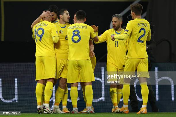 Roman Yaremchuk of Ukraine celebrates his team's first goal with teammates during the UEFA Nations League group stage match between Germany and...