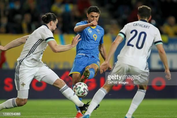 Roman Yaremchuk of Ukraine controls the ball during the international friendly match between Ukraine and Northern Ireland at Dnipro-Arena on June 3,...
