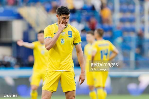 Roman Yaremchuk of Ukraine gestures during the international friendly match between Ukraine and Cyprus at Metalist Stadium on June 7, 2021 in...