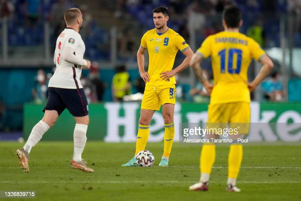 Roman Yaremchuk of Ukraine looks dejected after the England fourth goal scored by Jordan Henderson during the UEFA Euro 2020 Championship...