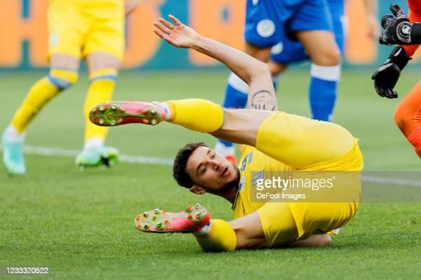 Roman Yaremchuk of Ukraine on the ground during the international friendly match between Ukraine and Cyprus at Metalist Stadium on June 7, 2021 in...