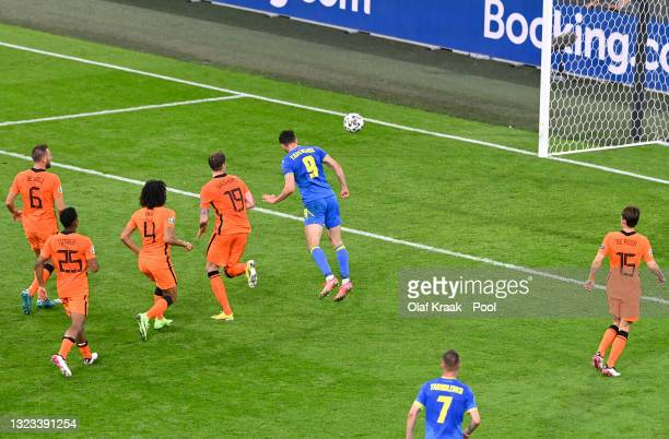 Roman Yaremchuk of Ukraine scores their side's second goal during the UEFA Euro 2020 Championship Group C match between Netherlands and Ukraine at...