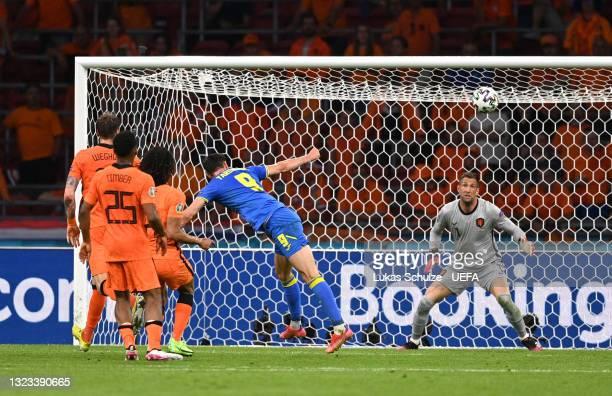 Roman Yaremchuk of Ukraine scores their side's second goal past Maarten Stekelenburg of Netherlands during the UEFA Euro 2020 Championship Group C...