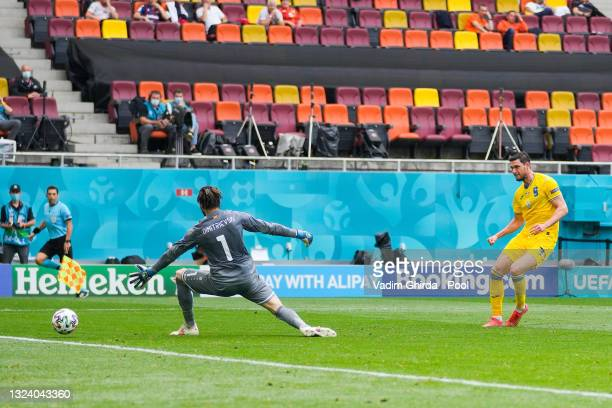 Roman Yaremchuk of Ukraine scores their side's second goal past Stole Dimitrievski of North Macedonia during the UEFA Euro 2020 Championship Group C...
