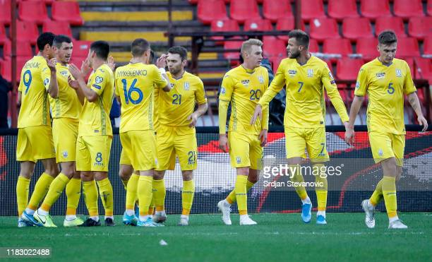 Roman Yeremchuk of Ukraine celebrates after scoring a goal with team mates during the UEFA Euro 2020 Qualifier between Serbia and Ukraine on November...