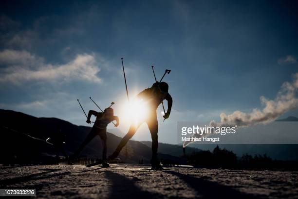Roman Yeremin of Kazhakstan competes in the IBU Biathlon World Cup Men's 12.5 km Pursuit on December 15, 2018 in Hochfilzen, Austria.