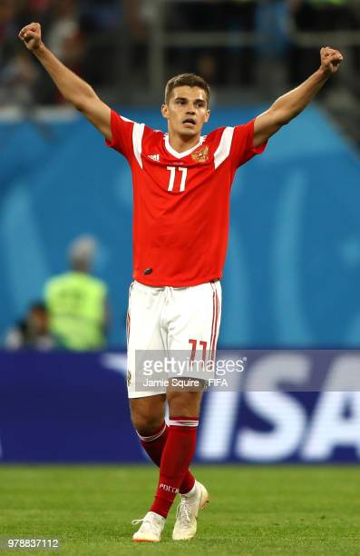 Roman Zobnin of Russia celebrates victory following the 2018 FIFA World Cup Russia group A match between Russia and Egypt at Saint Petersburg Stadium...