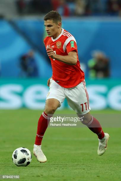 Roman Zobnin of Russia in action during the 2018 FIFA World Cup Russia group A match between Russia and Egypt at Saint Petersburg Stadium on June 19...