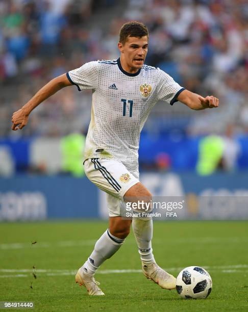 Roman Zobnin of Russia in action during the 2018 FIFA World Cup Russia group A match between Uruguay and Russia at Samara Arena on June 25 2018 in...