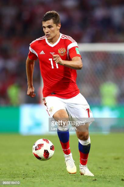 Roman Zobnin of Russia in action during the 2018 FIFA World Cup Russia Quarter Final match between Russia and Croatia at Fisht Stadium on July 7 2018...