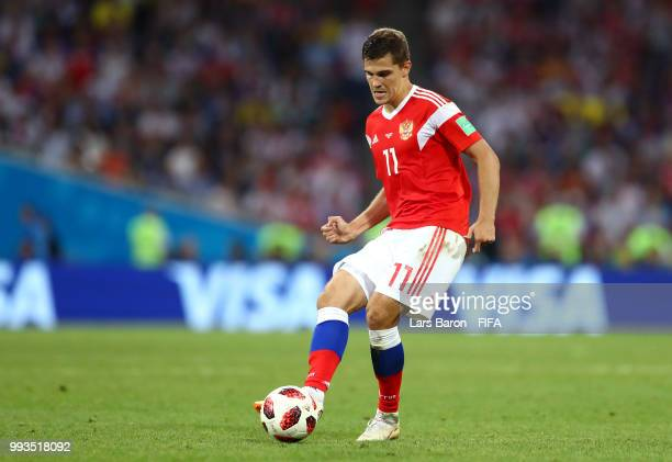 Roman Zobnin of Russia passes the ball during the 2018 FIFA World Cup Russia Quarter Final match between Russia and Croatia at Fisht Stadium on July...