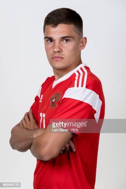 Roman Zobnin of Russia poses for a portrait during the official FIFA World Cup 2018 portrait session at Federal Sports Centre Novogorsk on June 8...