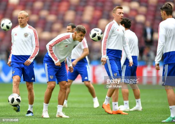 Roman Zobnin of Russia takes part during a Russia training session ahead of the 2018 FIFA World Cup opening match against Saudia Arabia at Luzhniki...