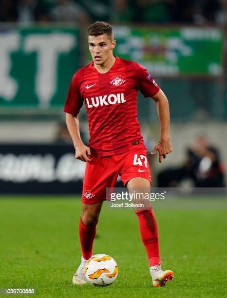 Roman Zobnin of Spartak Moscow during the UEFA Europa League match between SK Rapid Wien v Spartak Moscow at Allianz Arena on September 20 2018 in...
