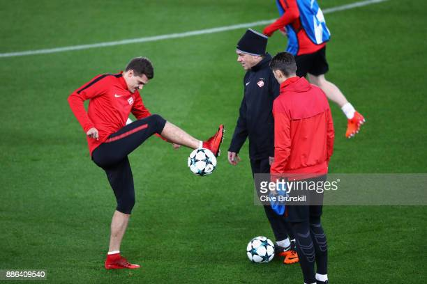 Roman Zobnin of Spartak Moskva in action during a training session at Anfield on December 5 2017 in Liverpool England