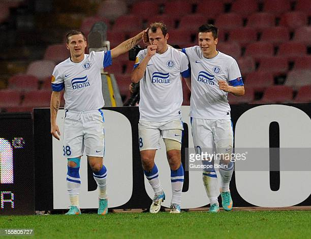 Roman Zozulya of Dnipro Dnipropetrovsk celebrates after scoring the goal 12 during the UEFA Europa League Group F match between SSC Napoli and FC...