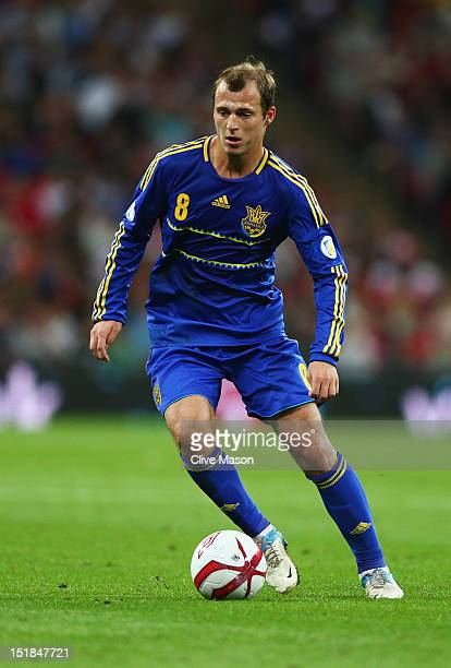 Roman Zozulya of Ukraine in action during the FIFA 2014 World Cup Group H qualifying match between England and Ukraine at Wembley Stadium on...