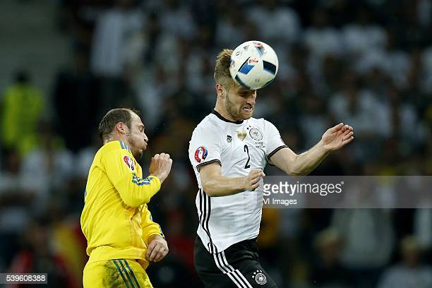 Roman Zozulya of Ukraine Shkodran Mustafi of Germany during the UEFA EURO 2016 Group C group stage match between Germany and Ukraine at the SStade...