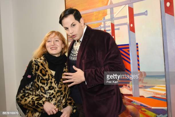 Romana from Technikart magazine and PR Alexandre Dumont attend the Tribute to Leonardo Cremonini Exibition Preview at Galerie T Lon November 29 2017...