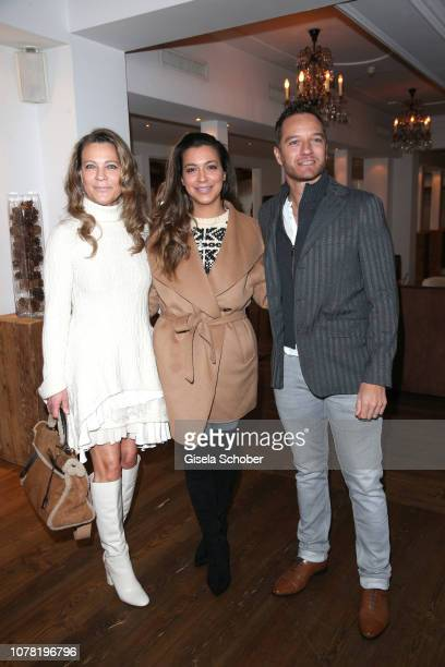 Romana Hinterseer and her daughter Jessica Hinterseer and her fiance Timo Scheider during the Neujahrs Karpfenessen at hotel Kitzhof on January 6...