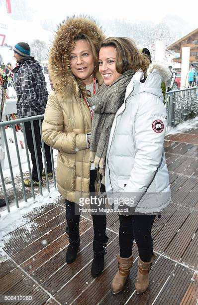 Romana Hinterseer and her daughter Jessica Hinterseer during the Hahnenkamm race on January 23 2016 in Kitzbuehel Austria