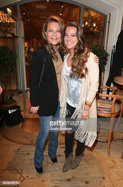 Romana Hinterseer and her daughter Laura Hinterseer during the NeujahrsKarpfenessen at Hotel zur Tenne on January 6 2016 in Kitzbuehel Austria
