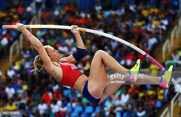 Romana Malacova of the Czech Republic competes in the Women's Pole Vault qualification on Day 11 of the Rio 2016 Olympic Games at the Olympic Stadium...