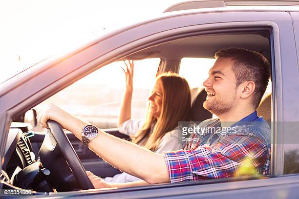 Romance Couple driving in car