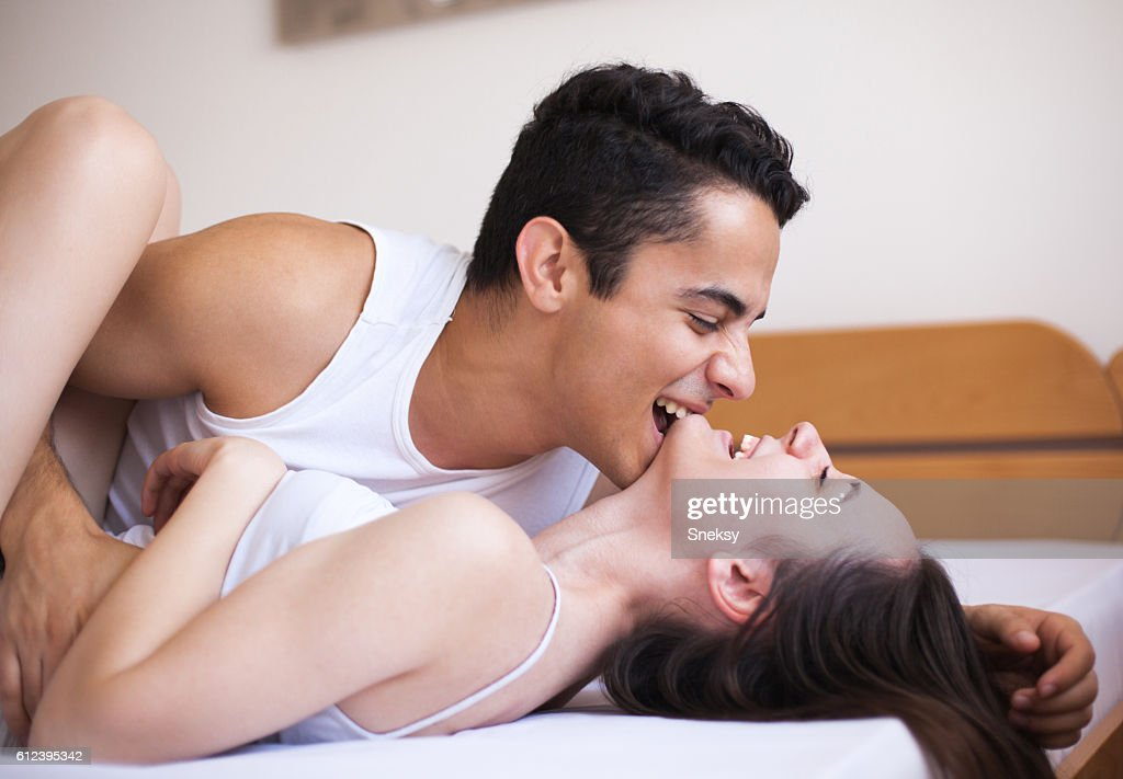 most romantic bedroom kisses. Romance Couple Enjoying In Their Bed : Stock Photo Most Romantic Bedroom Kisses
