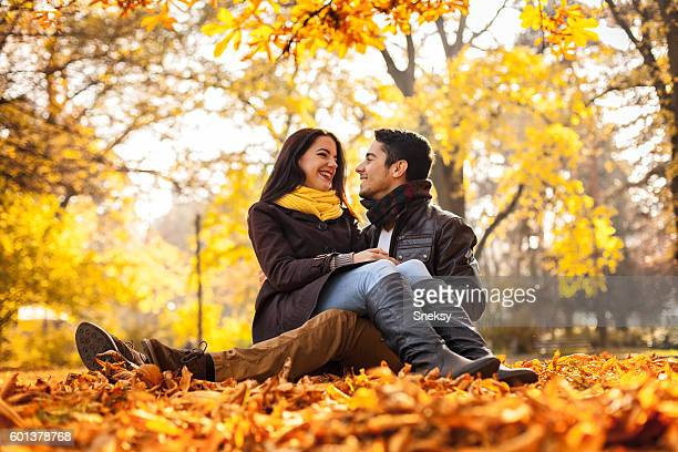 Romance couple in the park