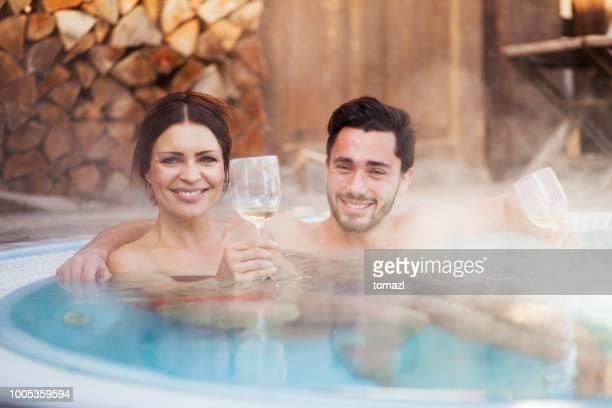Romance in hot tub
