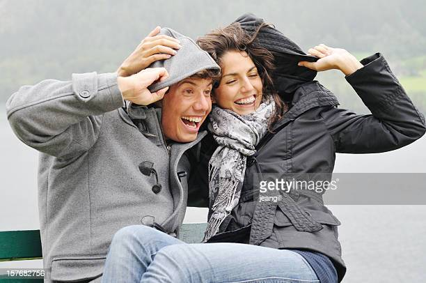 Romance in the rain and wind