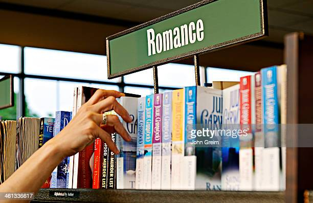 Romance novel section of a bookstore