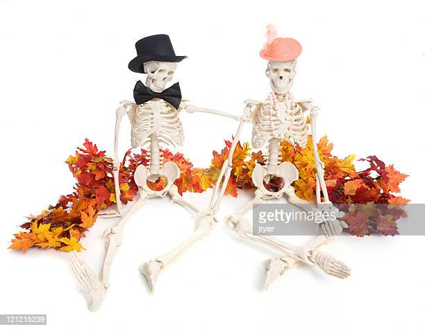 romance on halloween - funny skeleton stock photos and pictures