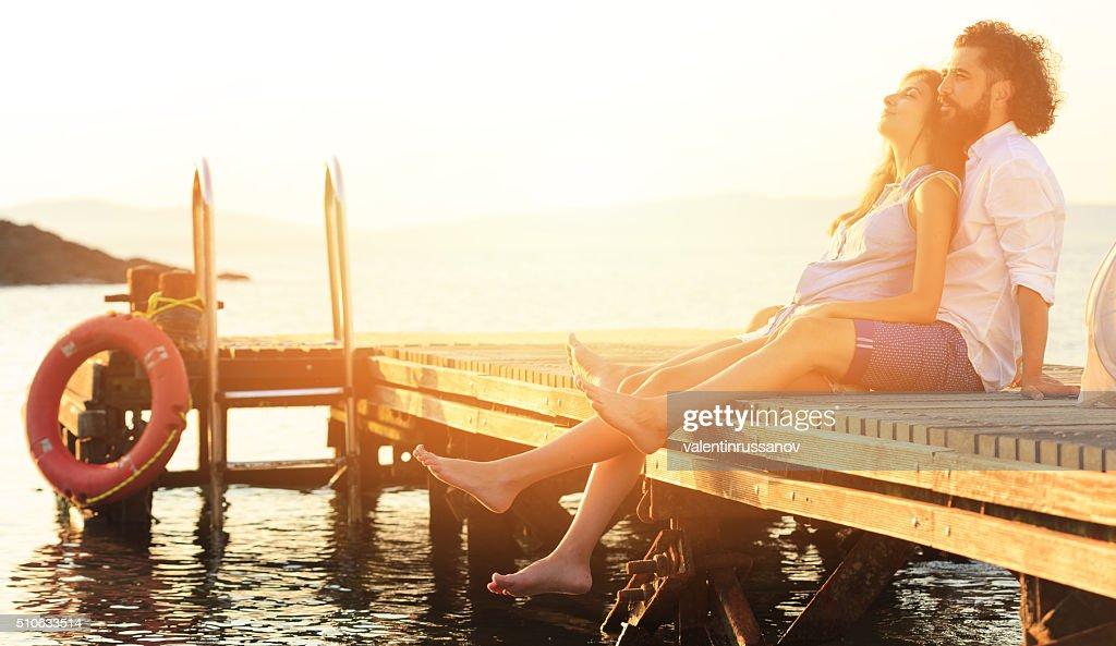 Romance on the dock : Stock Photo