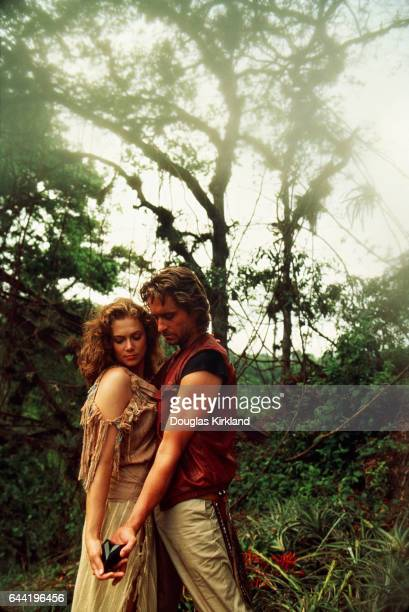 Romancing the Stone promotion shot The film stars Michael Douglas and Kathleen Turner who play the respective roles of Jack Colton and romance...