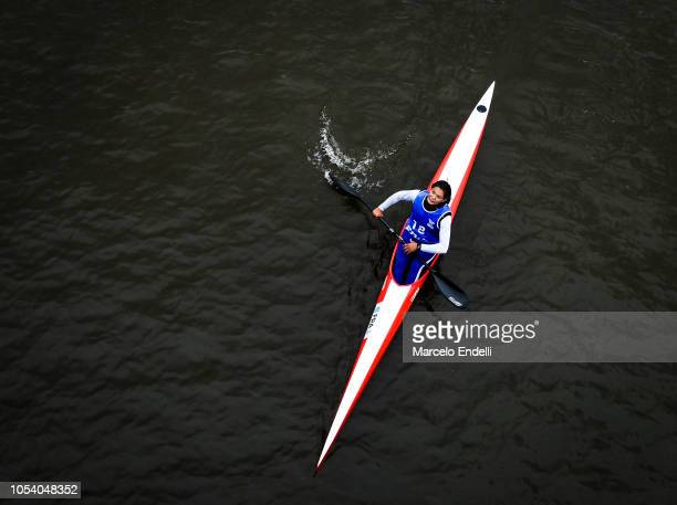Romane Charayron of France competes in the Women Kayak Head to Head Sprint during day 6 of Buenos Aires Youth Olympic Games 2018 at Urban Park Puerto...