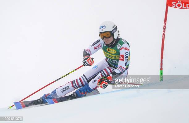 Romane Miradoli of France competes during the Women's Giant Slalom of the Audi FIS Alpine Ski World Cup at Rettenbach glacier on October 17, 2020 in...
