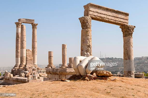 temple of hercules at amman citadel in jordan - amman stock pictures, royalty-free photos & images