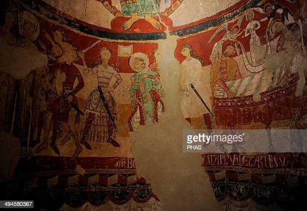 Romanesque Art Spain 12th century Church of St Mary Martyrdom of English Archbishop Thomas Becket who died in 1170 Mural painting in the apse Tarrasa...