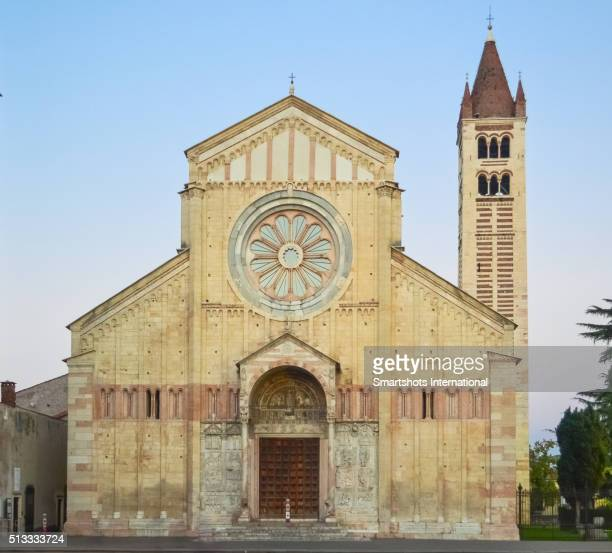 """Romanesque basilica of """"San Zeno"""" facade at dusk, Verona, Italy"""