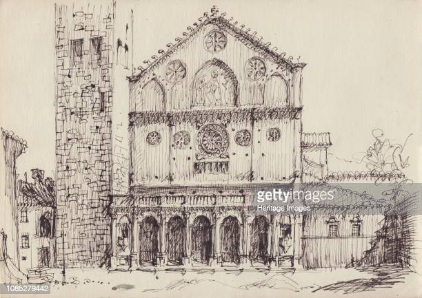 Romanesque church Italy circa 1950 Artist Shirley Markham
