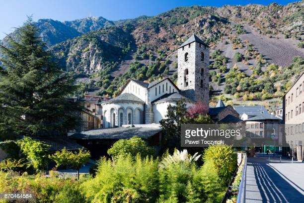 romanesque church of sant esteve from 12th century, andorra la vella - andorra la vella stock pictures, royalty-free photos & images