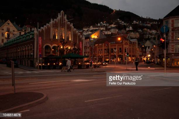 romanesque revival architecture building at bergen, in western norway - feifei cui paoluzzo stock pictures, royalty-free photos & images
