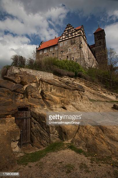 Romanesque St Servius Church atop Castle Hill in 1000 year old Quedlinburg Germany an UNESCO World Heritage Site