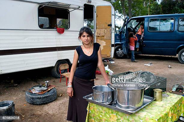 Romani girl of Bosnia in front of his house to the Rom's camp Casilino 900 on May 4 2008 in Rome Italy Field abusive nomad is one of the largest in...