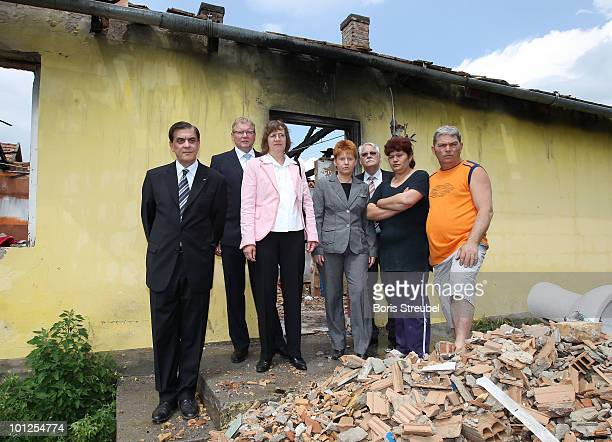 Romani Rose head of the Central Council of Romani people in Germany Hermann Korfmacher vice president of the German football association Dorothee...